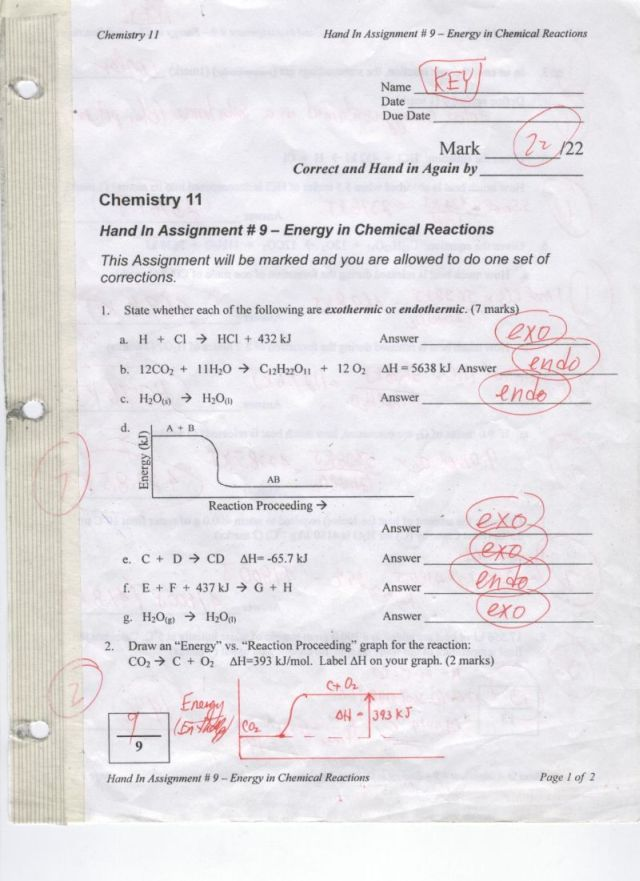 Worksheets 11 Chemical Reactions Answer Key chem 11 hand in 9 energy chemical reactions word key