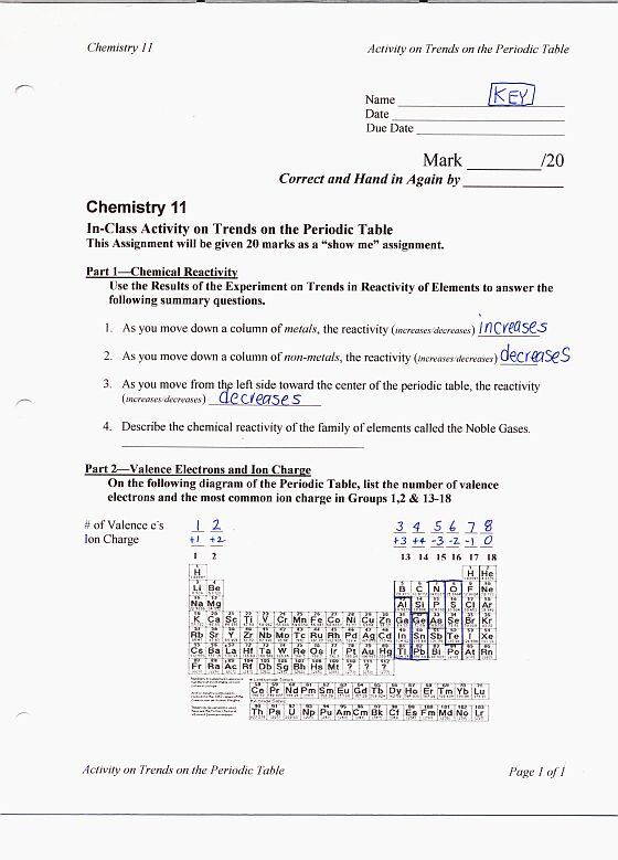 11 – Chemistry Unit 1 Worksheet 3