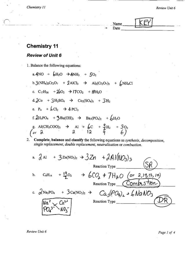 Worksheets Classifying Reactions Worksheet un6reviewkeyp1 jpg reviewunit6 word keyp1 p2