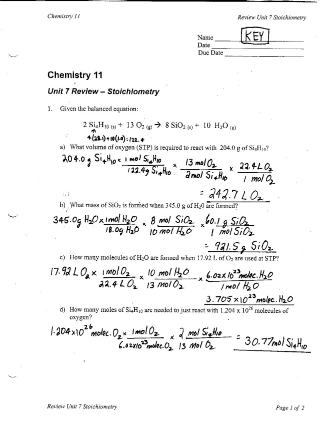 chem 11 – Stoichiometry Calculations Worksheet
