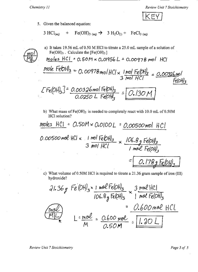 chem 11 – Molarity Calculations Worksheet