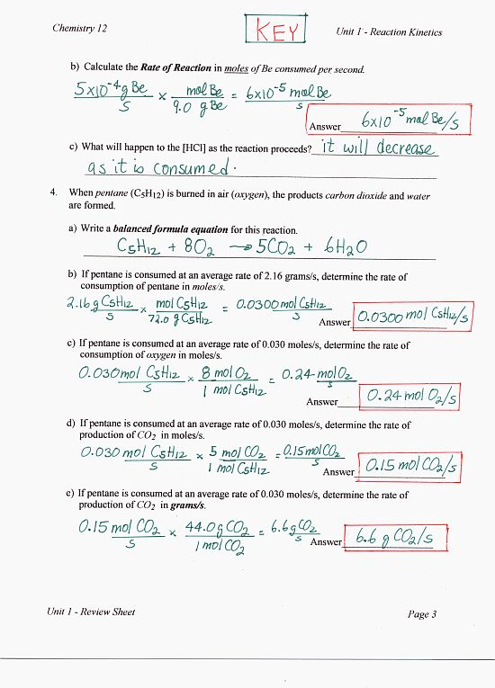 Energy worksheet 1 reaction rates answers