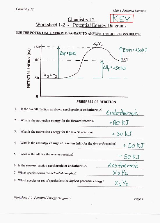 Printables Chemistry Review Worksheet Answers chemistry review worksheet answers abitlikethis reaction rates 1 potential energy diagrams 2