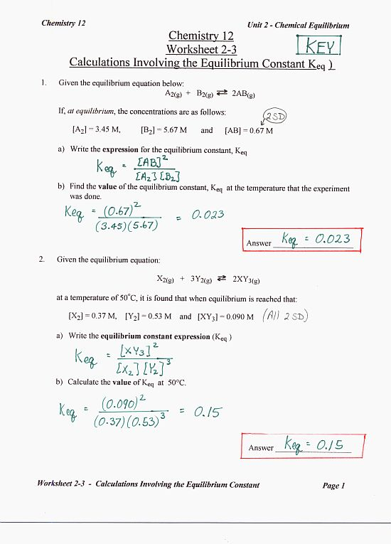 Chemistry 12 Mr Nguyens Website – Chemistry Worksheet Answers
