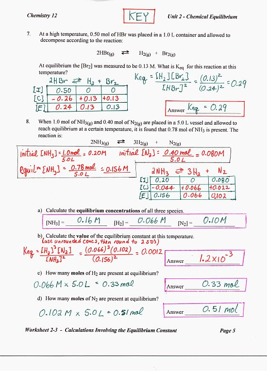 Worksheets Chemistry Unit 5 Worksheet 2 Answers www colgurchemistry