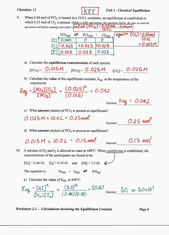 Printables Chemistry Worksheets With Answers chemistry 12 mr nguyens website worksheet 2 answer key page 1 3 4 5 6 7 review answers equilibrium quiz keq calculations answers