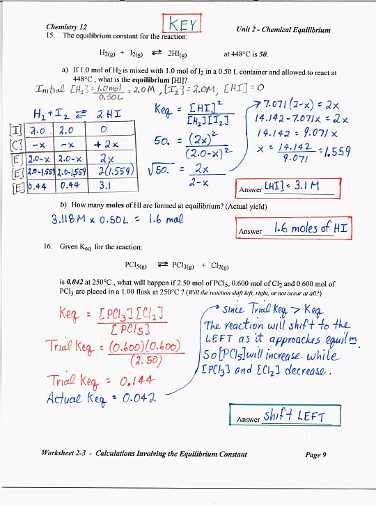 Chemistry 12 Mr Nguyens Website – Equilibrium Worksheet