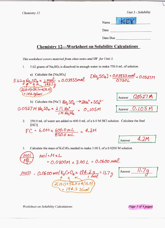 SolCalWorksheetKEYp1jpg – Stoichiometry Calculations Worksheet