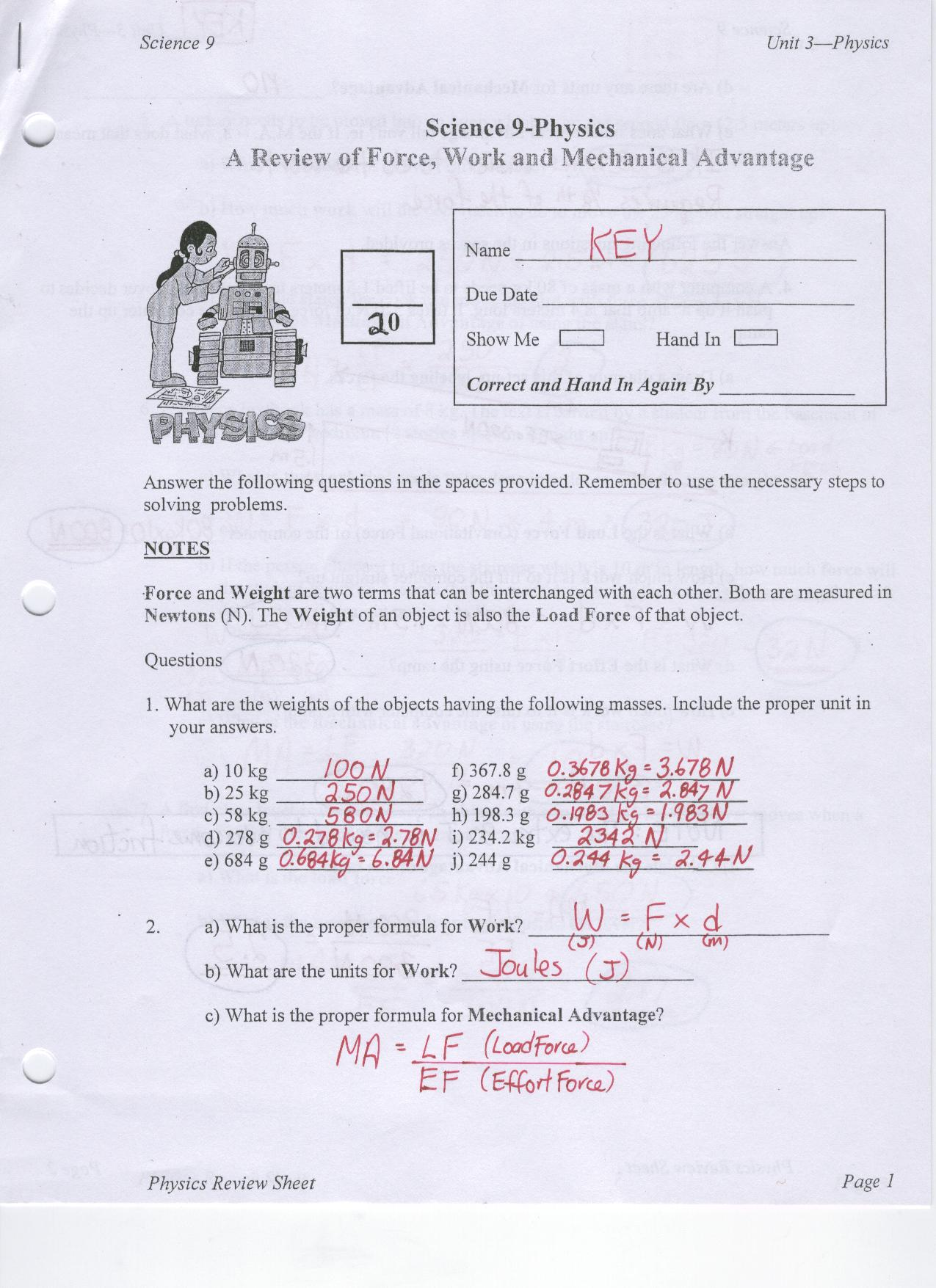 NOTE – Mechanical Universe Worksheets