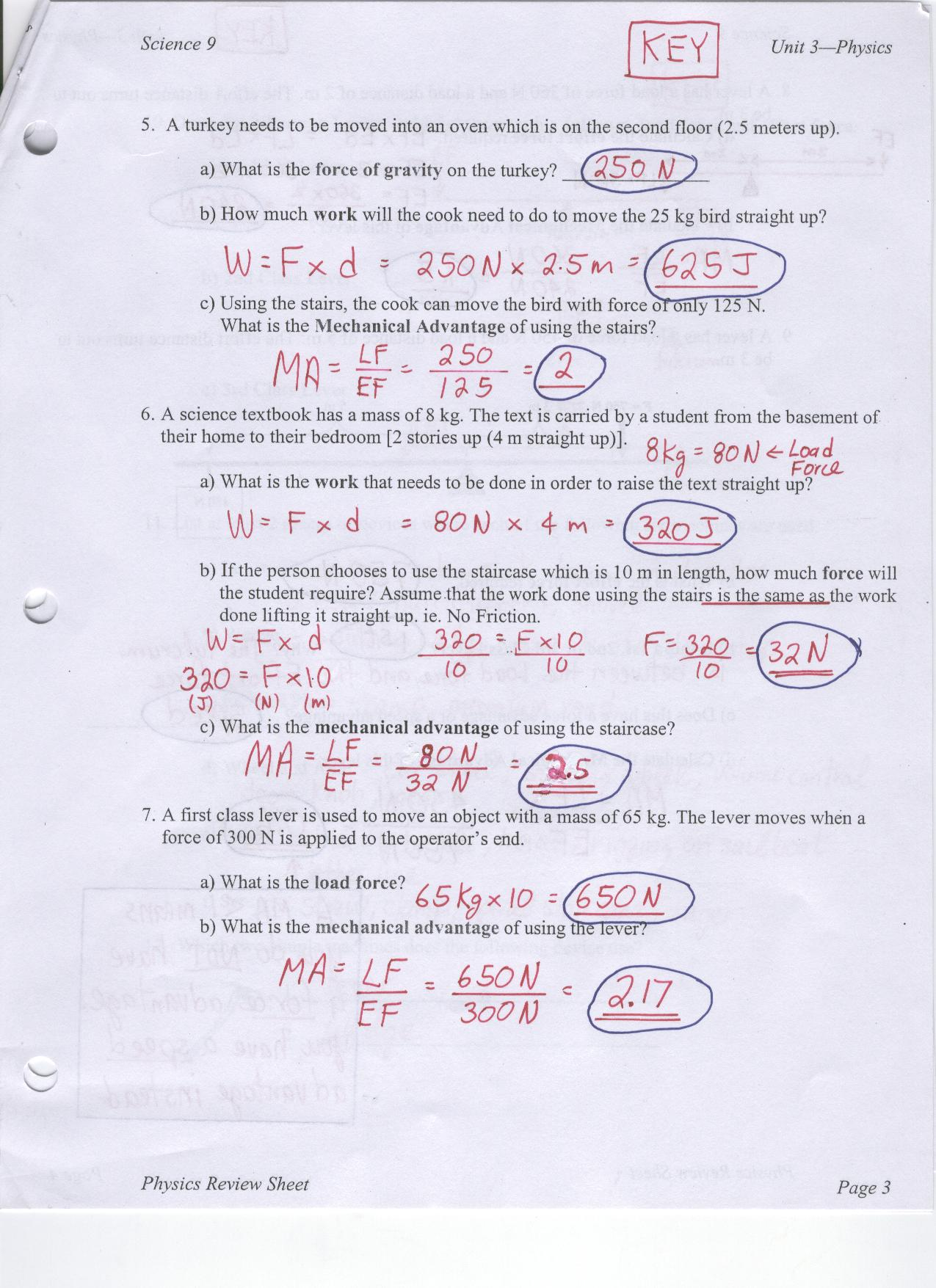 Worksheet, Simple Machines Worksheet, Mechanical Advantage Worksheet ...