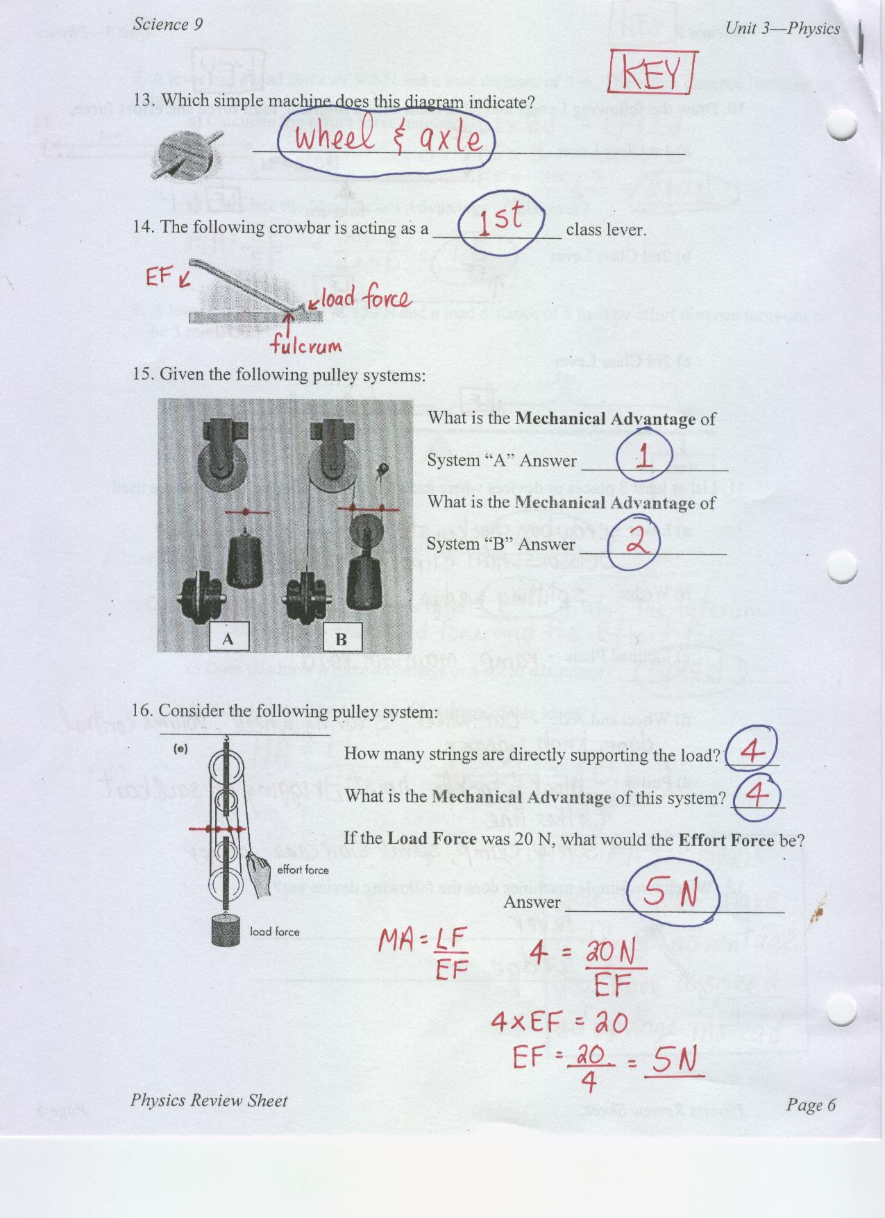 worksheet Simple Machines And Mechanical Advantage Worksheet Answers pulleys and ramps worksheet answers mr murray s website two dim note